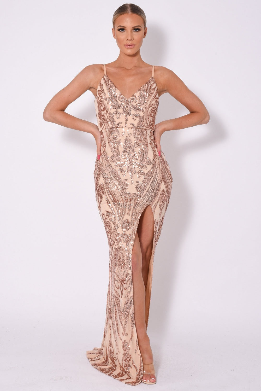Outshine Vip Rose Gold Nude Sequin Illusion Slit Maxi Dress