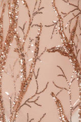 Candice Luxe Tree Rose Gold Nude Sequin Leaf Sheer Bodysuit Midi Dress