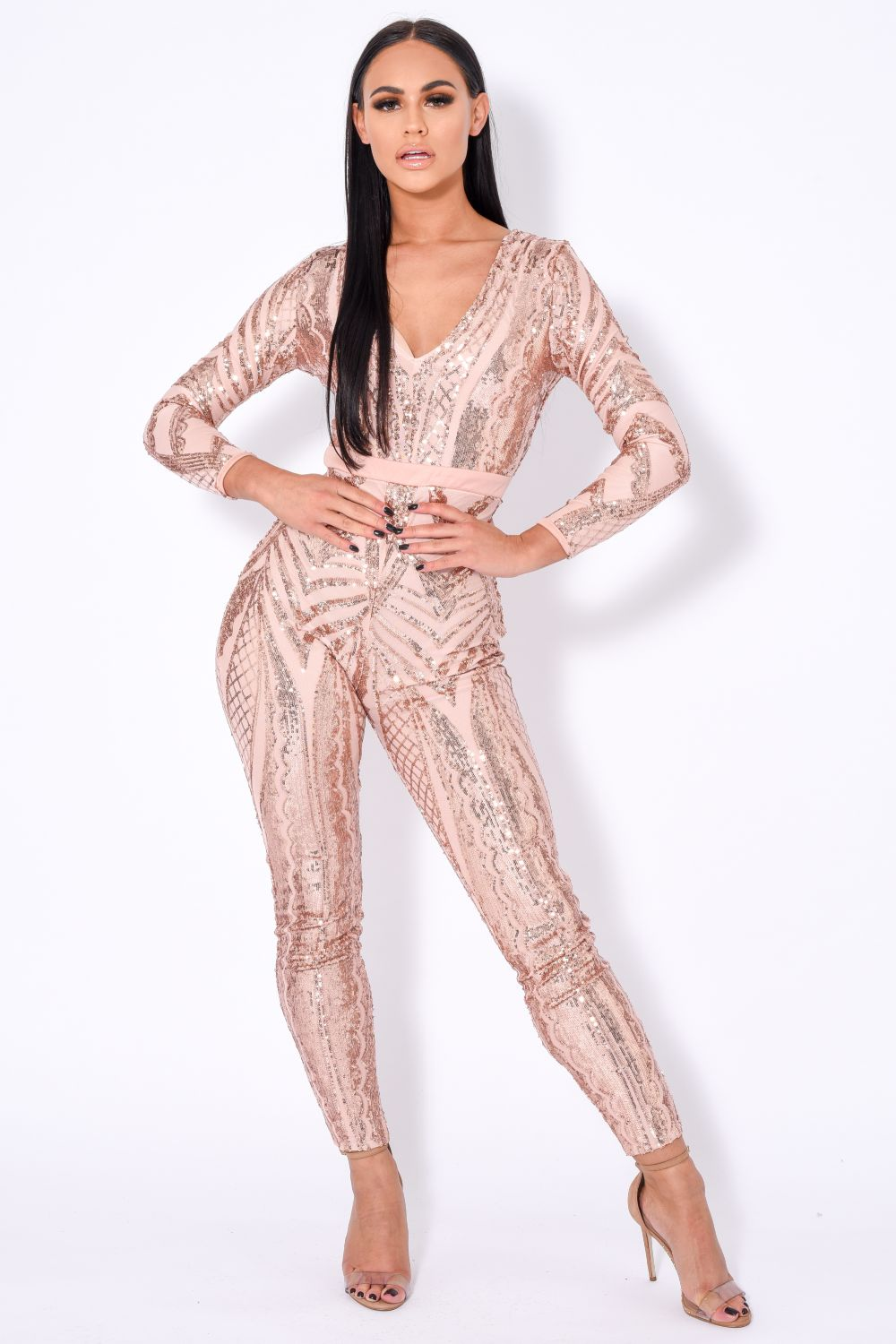 Tease Me Vip Rose Gold Nude Plunge Illusion Sequin Embellished Jumpsuit