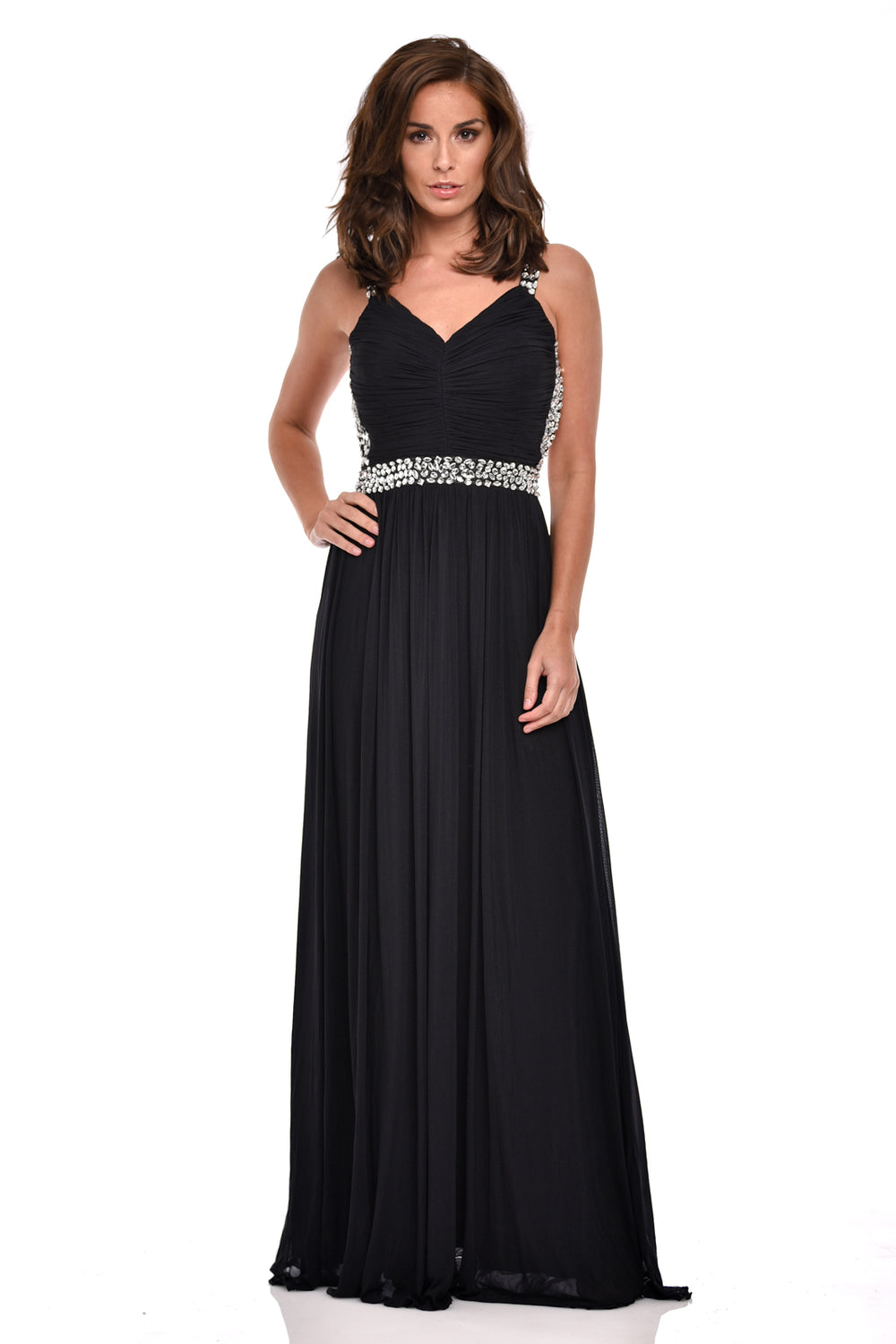 Nola Black Backless Maxi Grecian Dress