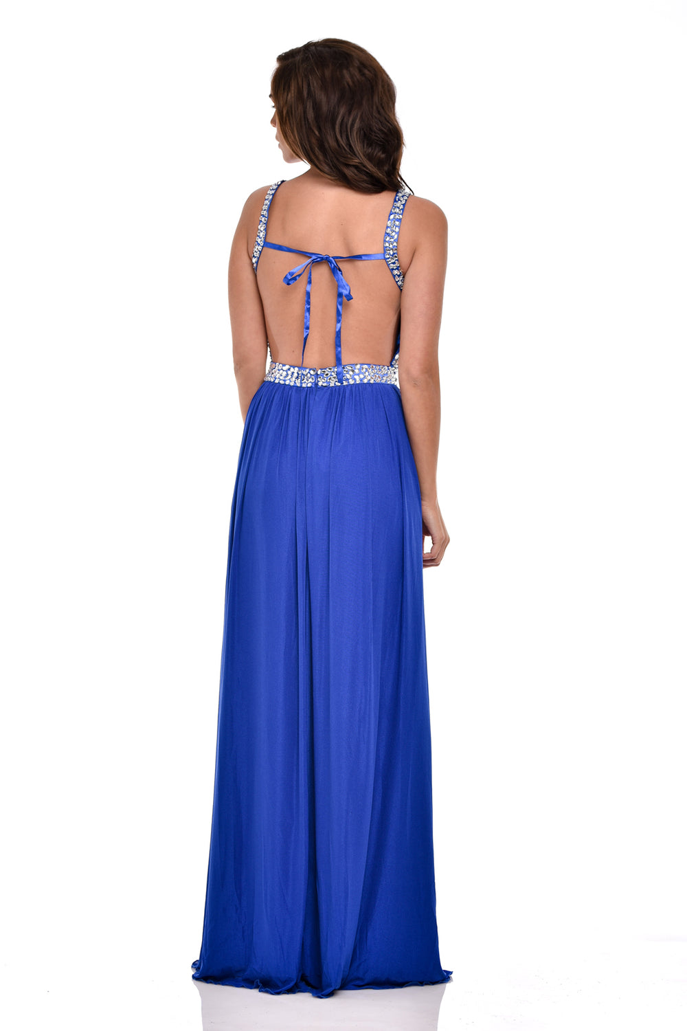 Nola Royal Blue Backless Maxi Grecian Dress
