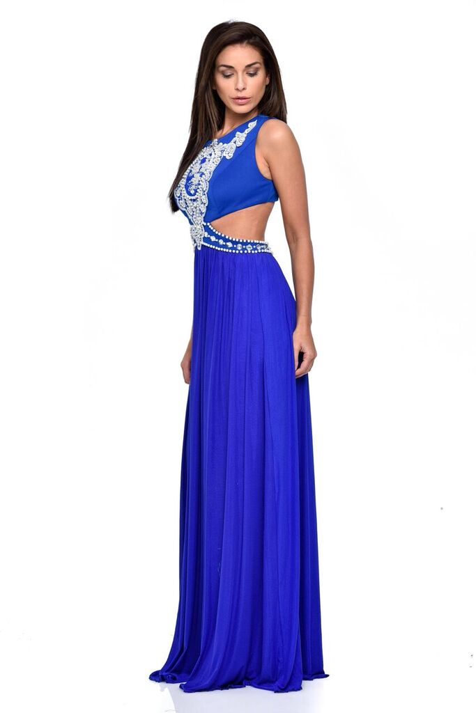 Laila Blue Cut-Out Waist Pearl Encrusted Grecian Goddess Maxi Dress