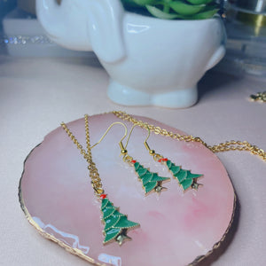 Christmas Tree Necklace and Earrings set
