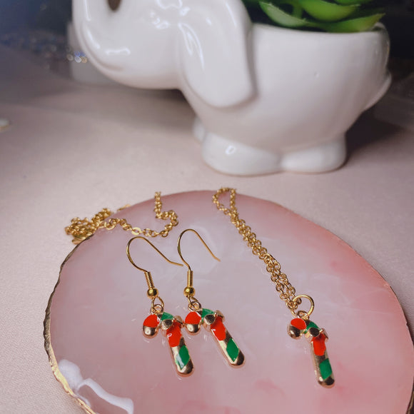 Candy Canes Necklace and Earrings Set