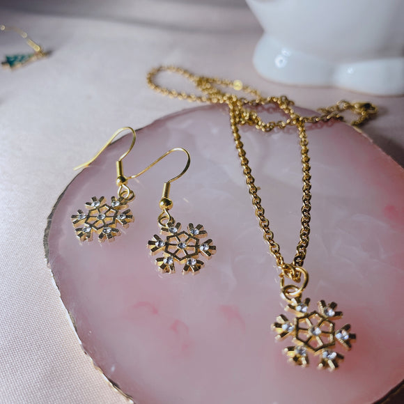 Snowflake Necklace and Earrings Set