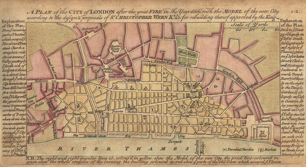 A plan of the City of London after the Great Fire in the year 1666...
