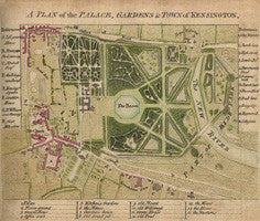 A plan of the palace, gardens and town of Kensington