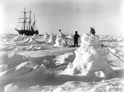 Ice mounds and rope serve as guidance to crew in darkness and blizzards