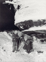 Frank Worsley and Reginald James observing stars during winter