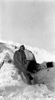 Frank Hurley in front of the hut on Elephant Island
