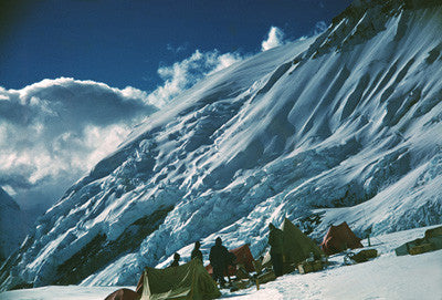 Camp V at the foot of Lhotse face looking towards the west ridge of Everest