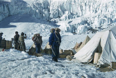 Bourdillon and Evans leave Camp IV for the first attempt at the summit