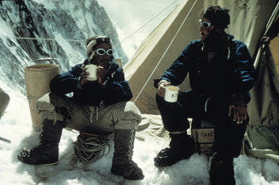 Tenzing Norgay and Edmund Hillary drink tea in the Western Cwm