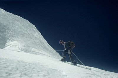 Noyce on a rope ascending an ice face in the Khumbu Glacier