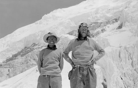 Edmund Hillary and Tenzing Norgay at Camp IV the day after their ascent