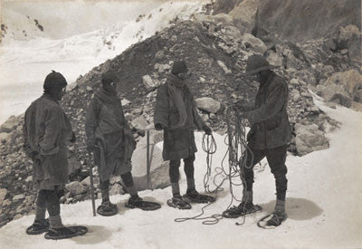Mr Bullock and sherpas wearing snow-shoes for the first time