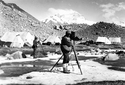 Captain Noel cinematographing at Base Camp, Rongbuk Glacier