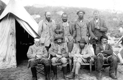 Members of the 1921 expedition at 17,300 foot camp