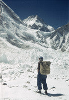 Edmund Hillary with ice pinnacles in the Khumbu Glacier