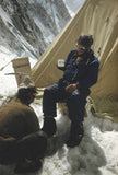 Hillary drinking tea at Camp IV after successfully ascending Everest
