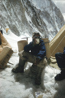 Tenzing drinking tea at Camp IV after successfully ascending Everest
