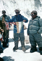 Tenzing Norgay flanked by two Sherpas