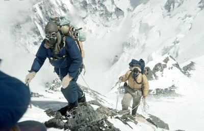 Edmund Hillary and Tenzing Norgay approaching 28,000 feet
