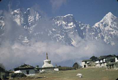 Chorten at Thyangboche with Himalayan peaks behind