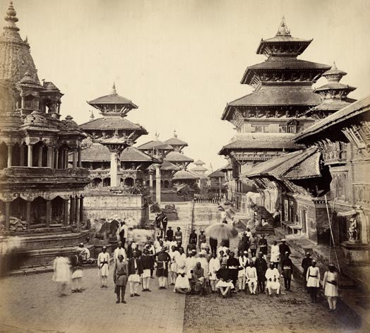 Photographic Print: Durbar Square and adjacent temples in Patan, Nepal