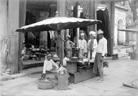 Market stall with umbrella