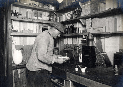 Ponting at work in his darkroom