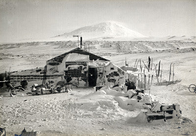 Hut and Mount Erebus photographed by moonlight