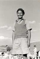 Tenzing Norgay wearing a beret and tank top