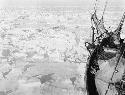 The bow of the Endurance frozen in the ice
