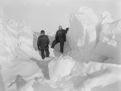 Shackleton (right) and Wild (left) scouting for a path to land through the hummocks