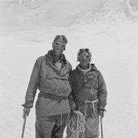 Hillary and Tenzing back at Camp IV after their ascent of Everest