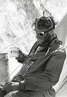 Edmund Hillary drinks tea at Camp IV after his ascent of Everest (aged 33)