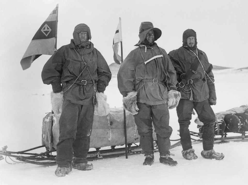 Shackleton, Wilson and Captain Scott ready for the Southern journey