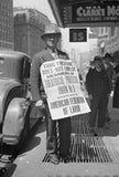 Union member demonstrating outside New York theatre