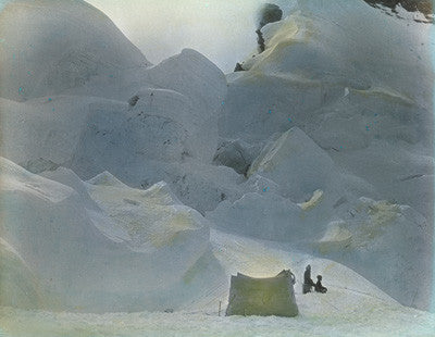 Tent amongst ice-pinnacles