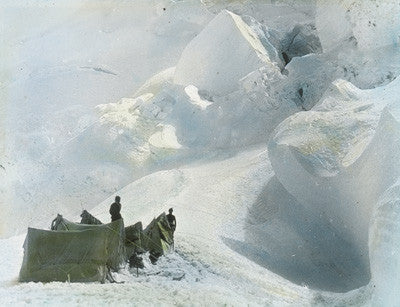 Tents amongst ice-pinnacles