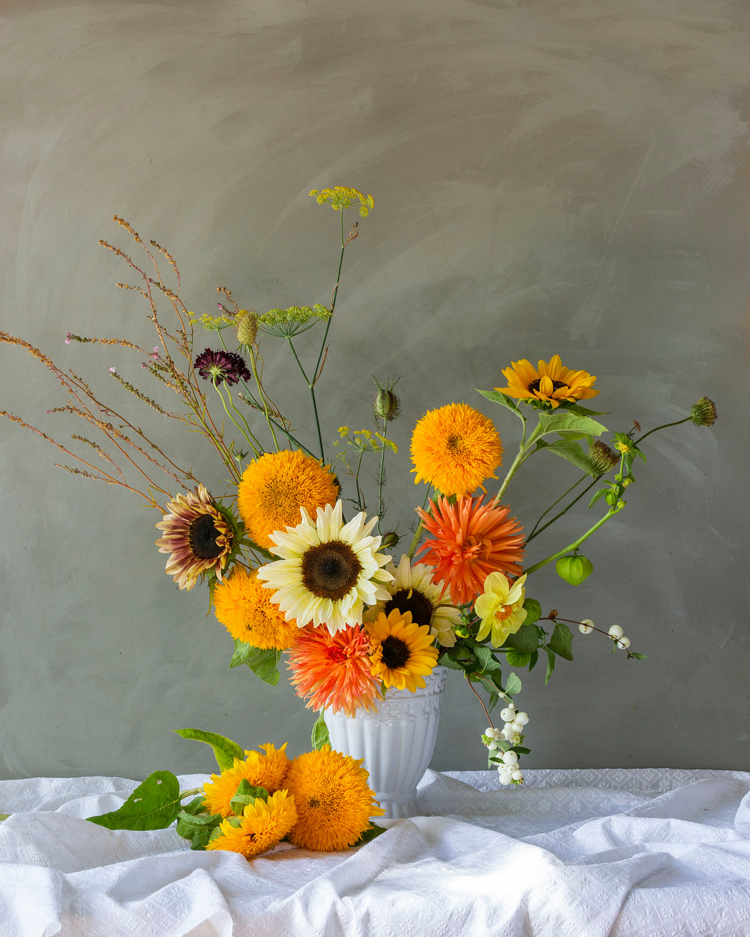 Orange Sunflower and Dahlia mix