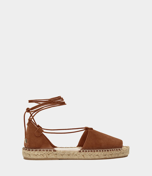 PoiLei Leder Lace Up Espadrilles Alma Braun Side