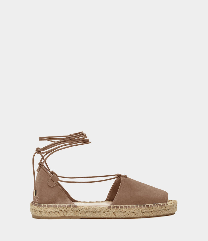 PoiLei Leder Lace Up Espadrilles Alma Taupe Side