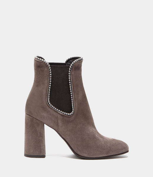 PoiLei Leder High Heel Chelsea Boots Carla Taupe Side
