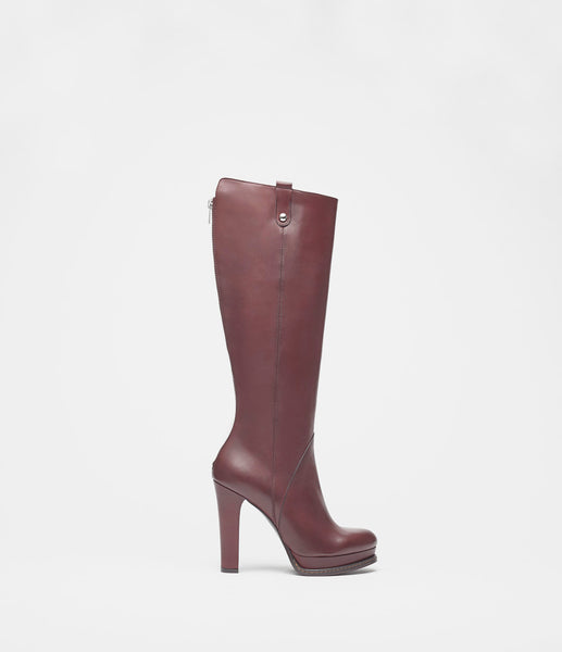 PoiLei Leder Langschaftstiefel Megan Bordeaux Side