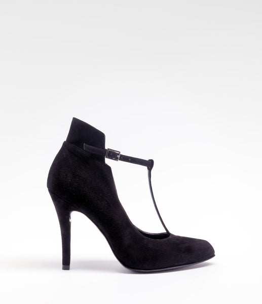 PoiLei Leder T-bar Highheel Tiziana Schwarz Side
