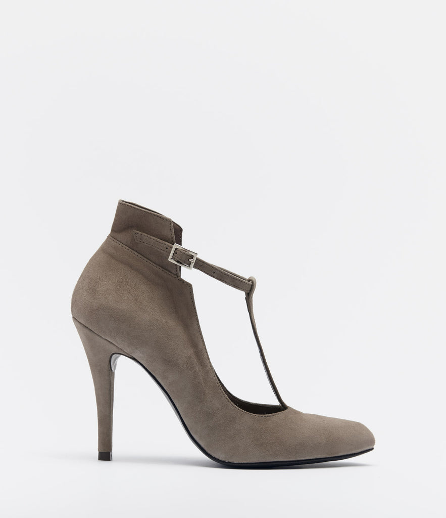 PoiLei Leder T-bar Highheel Tiziana Taupe Side