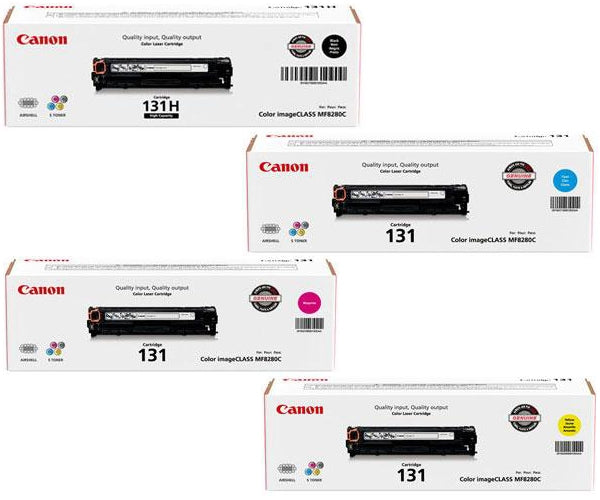 Original Canon 131 Combo (Black High Capacity, Cyan, Magenta, Yellow) Toner Cartridges