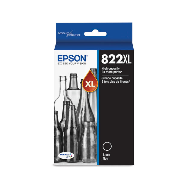 Epson T822XL T822XL120-S Original Black Ink Cartridge High Yield for use in WorkForce Pro WF-3820, WorkForce Pro WF-4820, WorkForce Pro WF-4830, WorkForce Pro WF-4834